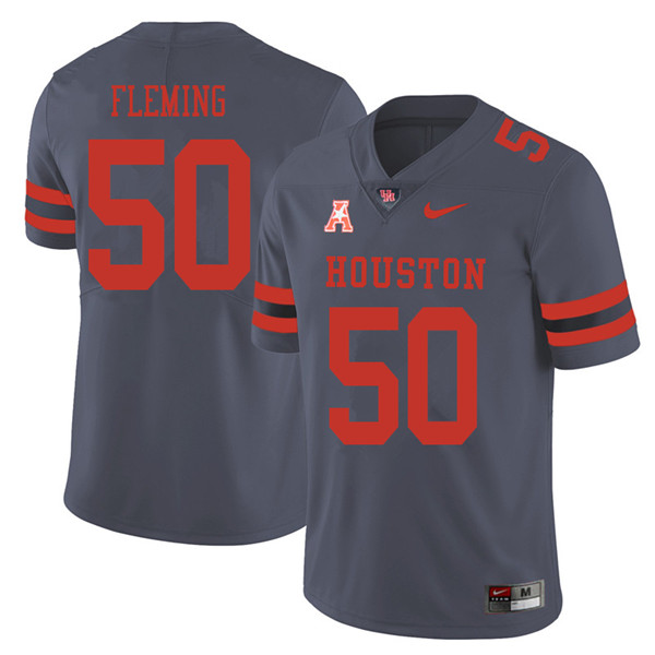2018 Men #50 Aymiel Fleming Houston Cougars College Football Jerseys Sale-Gray