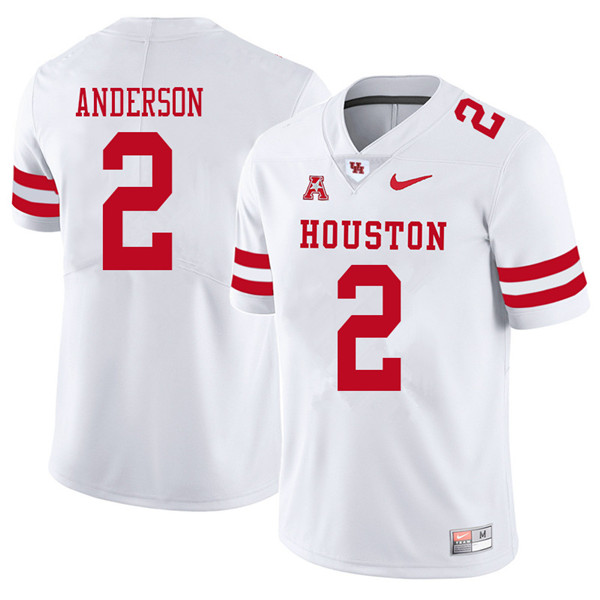 2018 Men #2 Deontay Anderson Houston Cougars College Football Jerseys Sale-White