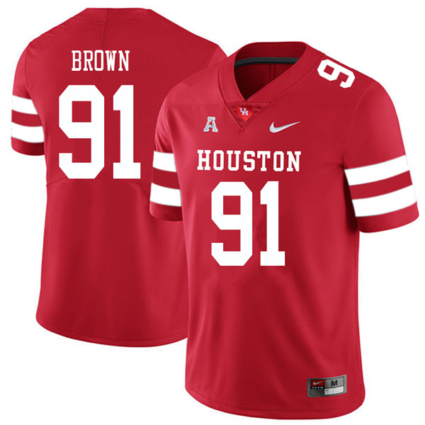 2018 Men #91 Tahj Brown Houston Cougars College Football Jerseys Sale-Red