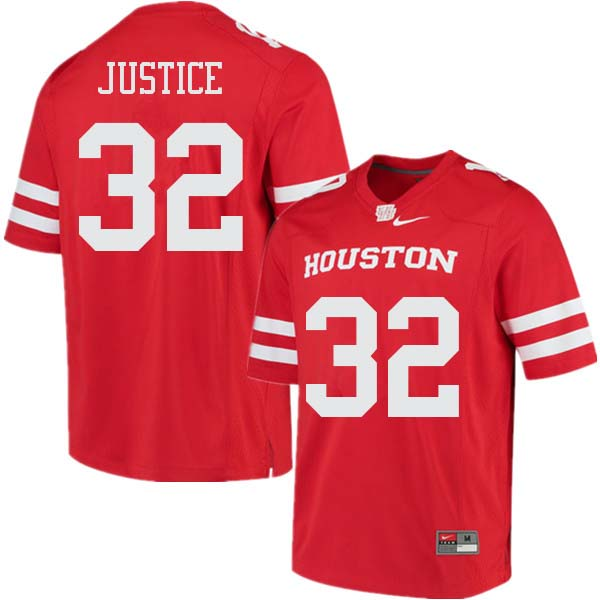 Men #32 Kevrin Justice Houston Cougars College Football Jerseys Sale-Red
