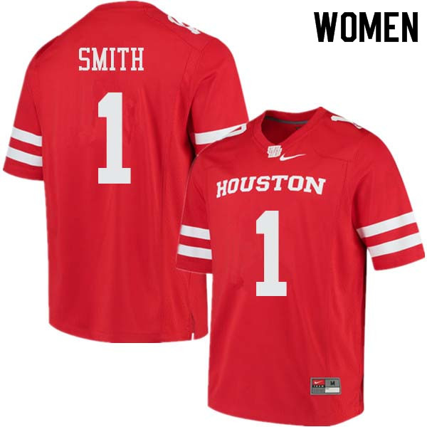 Women #1 Bryson Smith Houston Cougars College Football Jerseys Sale-Red