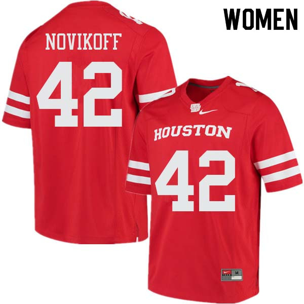 Women #42 Caden Novikoff Houston Cougars College Football Jerseys Sale-Red