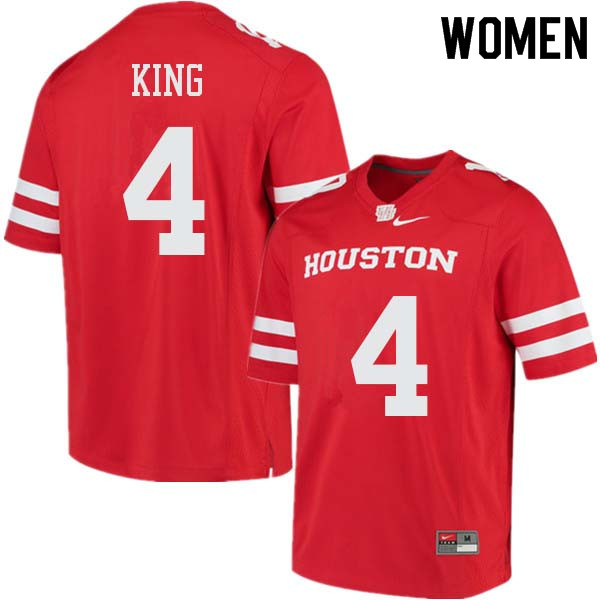 Women #4 D'Eriq King Houston Cougars College Football Jerseys Sale-Red