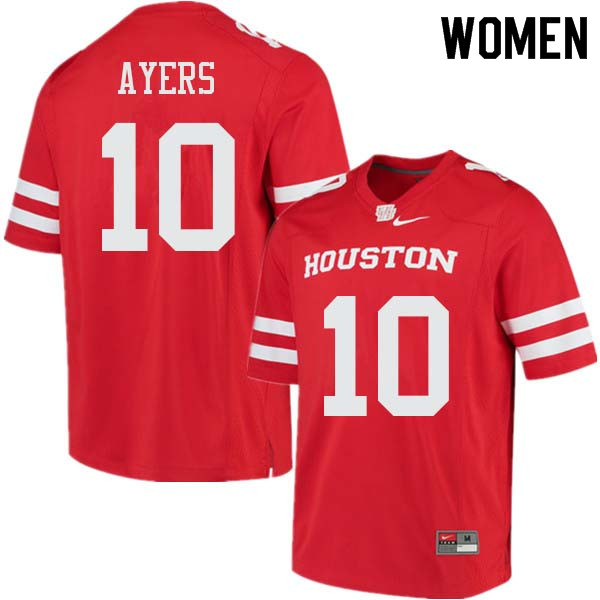 Women #10 Demarcus Ayers Houston Cougars College Football Jerseys Sale-Red