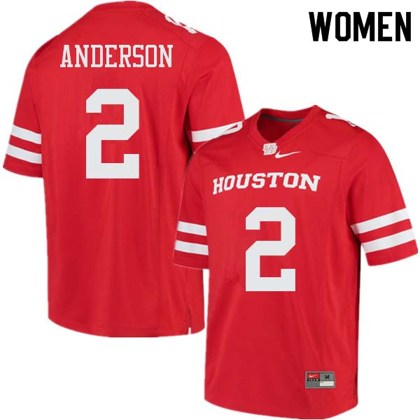 Women #2 Deontay Anderson Houston Cougars College Football Jerseys Sale-Red