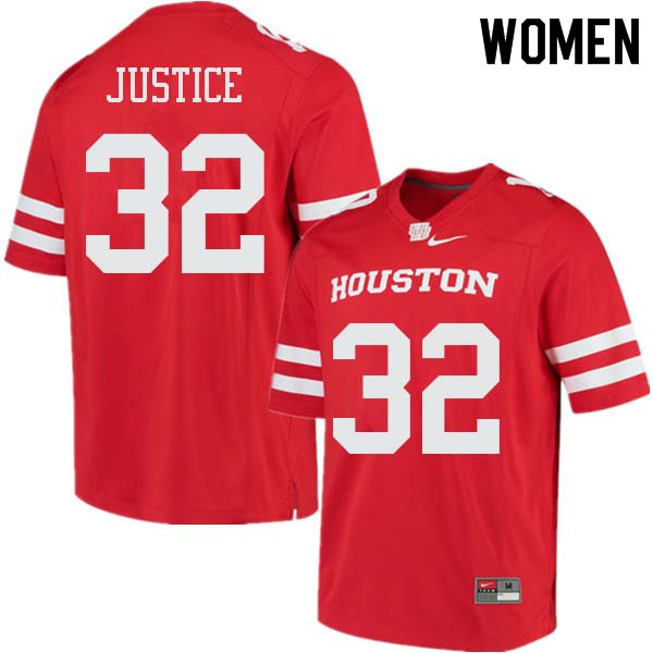 Women #32 Kevrin Justice Houston Cougars College Football Jerseys Sale-Red