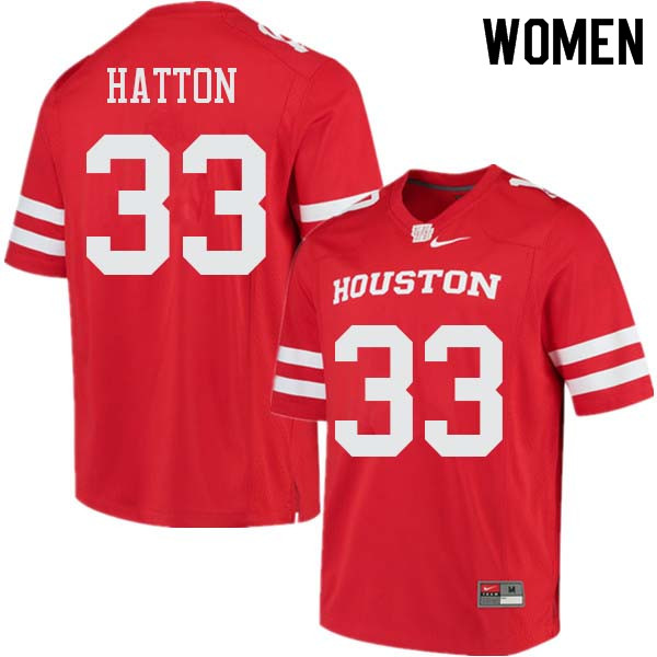 Women #33 Kinte Hatton Houston Cougars College Football Jerseys Sale-Red