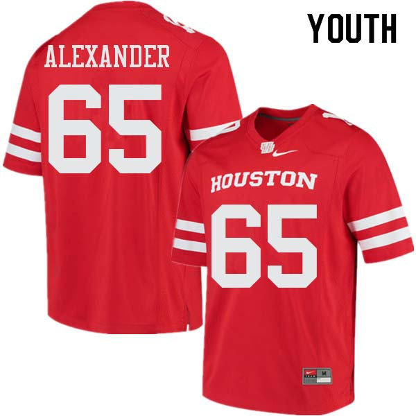 Youth #65 Bo Alexander Houston Cougars College Football Jerseys Sale-Red