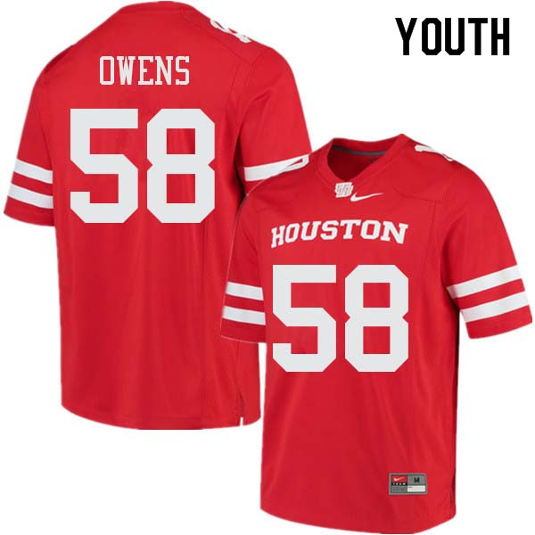 Youth #58 Darrion Owens Houston Cougars College Football Jerseys Sale-Red