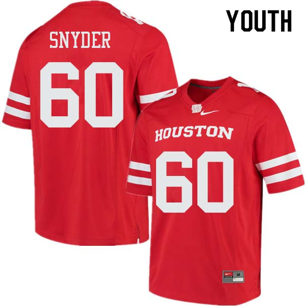 Youth #60 Kordell Snyder Houston Cougars College Football Jerseys Sale-Red